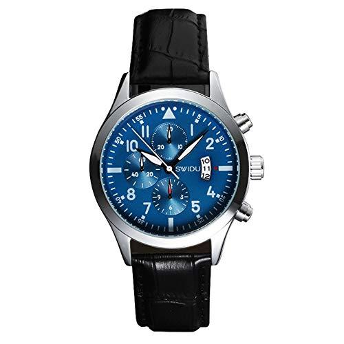 L.HPT Reloj de Ropa Formal para Hombres, niños Estudiantes Casual, cinturón Simple Impermeable, Reloj de Tres Agujas,blackbeltblueplate