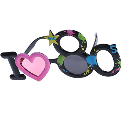 Bonarty Novedad I Love The 80s Monogram Gafas De Sol 80s Generation Eye Glasses Atrezzo para Disfraces