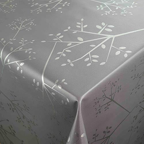 DecoHomeTextil Wachstuch Wachstuchtischdecke Gartentischdecke Größe wählbar Soft Touch Antik Zweige Dunkelgrau 100 x 100 cm Eckig abwaschbare Tischdecke