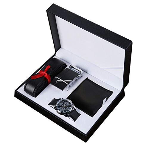 Cartera y Cinturón Set de Regalo, Cumpleaños Regalos para Hombre, 3pcs Regalo Set Incluye Cartera Cuero PU, Cinturón, Reloj Para Padre Día Aniversario de Bodas Regalos Regalo de Navidad - Negro