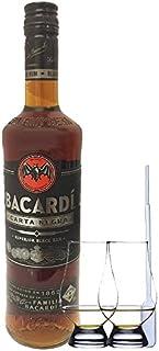 Bacardi Carta Negra Black Rum Bahamas 0,7 Liter  2 Glencairn Gläser  Einwegpipette 1 Stück