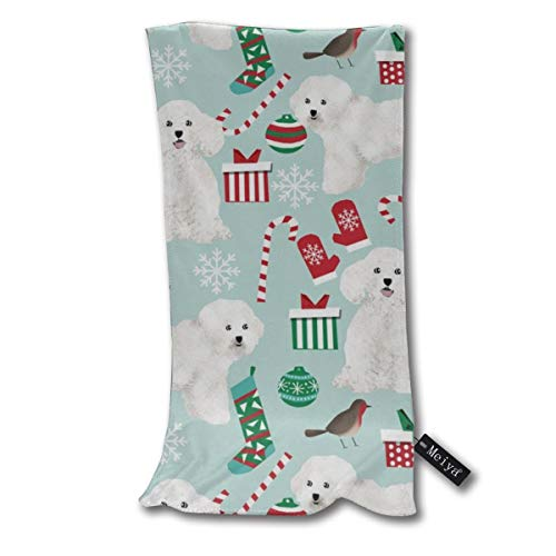 """Bichon Christmas Cute Bichon Frise Best Dogs Cute Dog Design Supersoft - Ultra Absorbent - Quick Dry - Machine Washable Oversize Towels 30""""x70"""" - for Beach, Bath, Yoga, Sports,Picnic, Travel etc."""