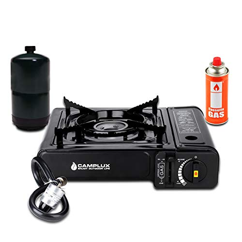 Camplux New Dual Fuel Propane & Butane Portable Outdoor Camping Gas Stove Single Burner with Carry Case