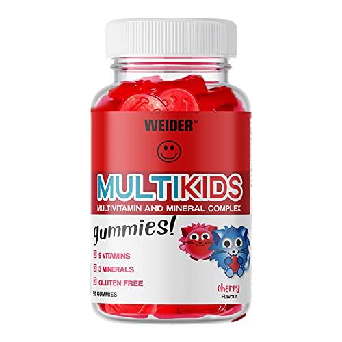 Weider Multikids Gummies Complejo vitamínico para niños. Producto 100% vegetal y Sin Gluten. 50 gummies. Sabor Cereza.