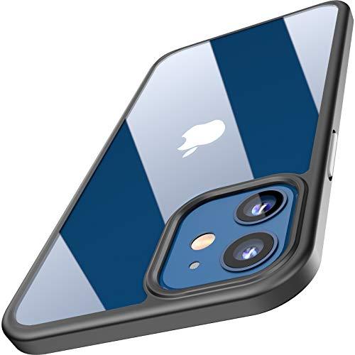 TOZO Compatibile per iPhone 12 Mini Cover da 5.4 Pollici Hybrid Soft Grip Finitura Opaca Pannello Posteriore Trasparente Custodia Sottile Fit Compatibile per iPhone 12 Mini Nero
