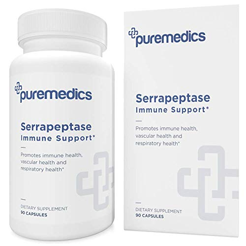 PUREMEDICS Serrapeptase Enzyme 20,000 IU - Natural Serrapeptase Enzymes to Support Healthy Immune System - Recommended by Doctors - 3rd Party Lab Certified - Hypoallergenic - Vegan - 90 Capsules