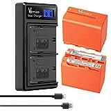 Vemico NP-F970 Batería y Cargador 2 X 8500mAh para Sony NP F970/750/730/550/570 Batería Reemplazable y Cargador Doble LCD con Cable Tipo-C para Sony CCD-TR918/HDR-AX200/DCR-TRV420 Serie de cámaras