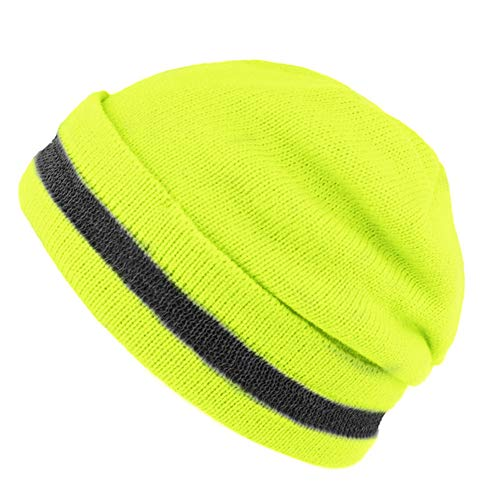 XIAKE Knitted Beanie with Reflective Stripe, One Size, Yellow