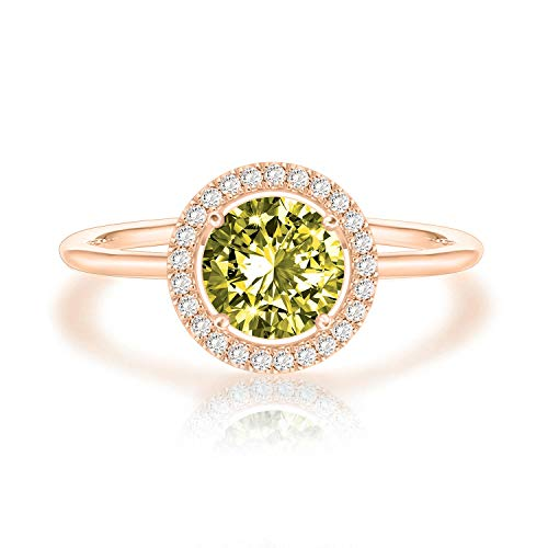 Swarovski Crystal 14K Rose Gold Plated Birthstone Rings | Rose Gold Rings for Women | Peridot Ring