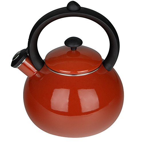 Porcelain Enameled Tea Kettles,2 Quart Tea pot,AIDEA Whistling Tea Kettle with Heat Proof Handle, Suitable for Stovetop Induction - Red