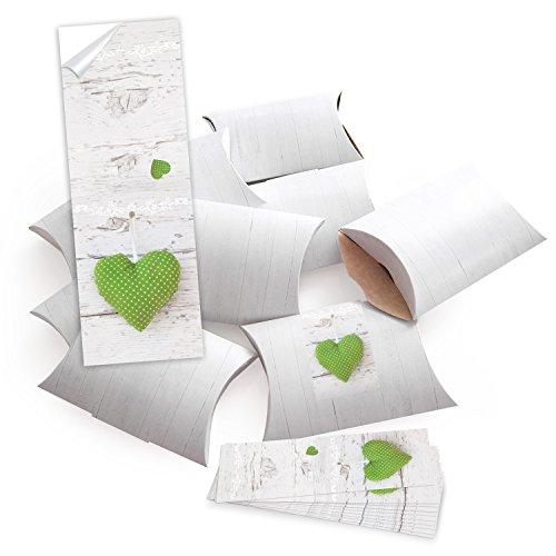 25 kleine Geschenkschachteln Geschenk-Boxen Kartons, weiß 14,5 x 10,5 + 3 cm mit Aufkleber Banderole GRÜN WEISS GEPUNKTETES HERZ auf weißem Holz - selber basteln und befüllen