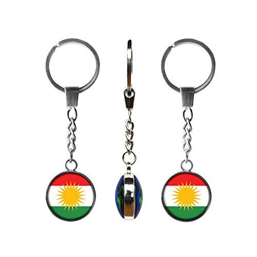 GuDeKe Kurdistan Bereich Kurdistan Flagge Anhänger Halskette Schlüsselanhänger Patriotische Schmuck (Silberne Farbe/Schlüsselanhänger)