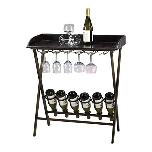 DAGONGREN Estante de Almacenamiento de Vino for Botellas Gabinete Estante Portavasos Madera con Tablero de Mesa, Negro