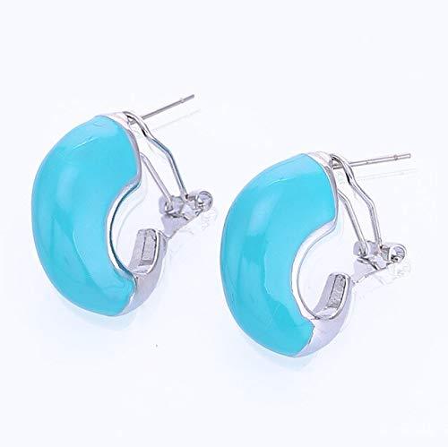 DJMJHG Pendientes de botón para Mujer Nuevo Pendiente de Moda Joyería Regalos Joyería Mejor Regalo de San ValentínLt Blue