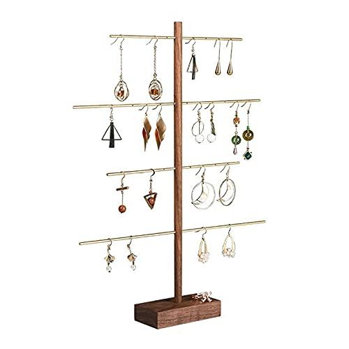 erddcbb Caja de joyería Soporte de exhibición de Collar de aretes de Metal en Tono latón de 4 Niveles Estante de Madera para Collar Accesorios de exhibición de joyería Estante de Pendientes Colgador