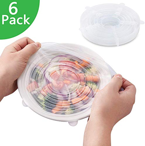 Tapas De Silicona Elástica Protectoras para Alimentos 6 Paquetes De Varios Tamaños De Silicona Ajustables Cocina - Sin BPA, Aptas para Lavavajillas, Microondas, Horno Y Congelador