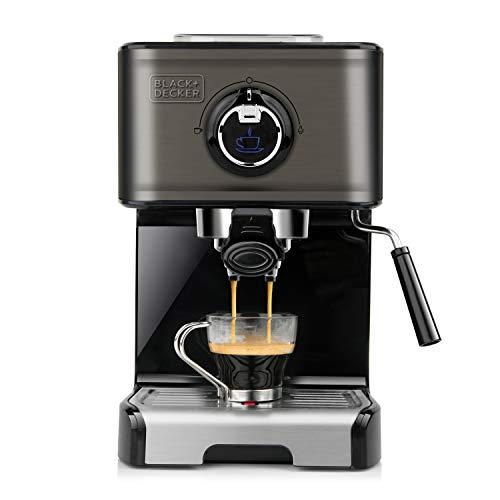 BLACK+DECKER BXCO1200E - Machine à Expresso 1200 W, 15 Bars, Réservoir 1,2 L, pour Dosette et Moulu, 2 Tasses, Buse Vapeur, Plaque Chauffante, Noir et Inox