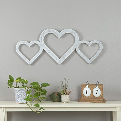 Everly Hart Collection White Triple Heart Wood Cut Out Word Wall Decor Decorative Sign