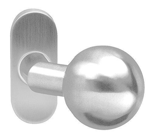 Gedotec Türknopf auf Ovalrosette Knopfdrücker Türknauf Ø 55 mm gekröpft rund | Nicht drehbar | Edelstahl matt gebürstet | 1 Stück Türbeschlag inkl. Drückerstift 80 mm & Befestigungsmaterial