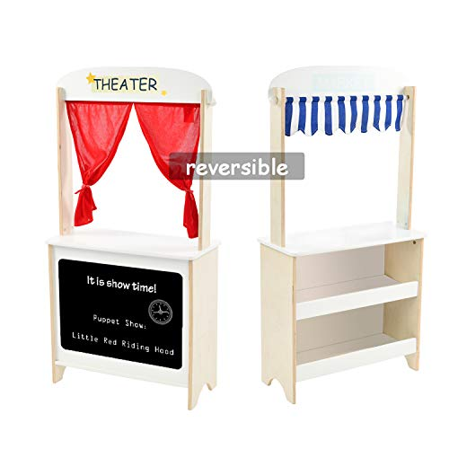labebe - Wood Puppet Theater for Kid, Flannel Curtain Puppet Stage Theater, 2 Sided Tabletop Puppet Stage Chalkboard, 2-in-1 Puppet Theater and Play Store, Multi-Function Theater for Ages 3 and up