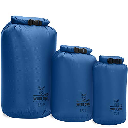 Wise Owl Outfitters Dry Bag 3-Pack - Fully Submersible Ultra Lightweight Airtight Waterproof Bags - Diamond Ripstop Roll-Top Drybag Sacks - 20L,10L, and 5L Blue
