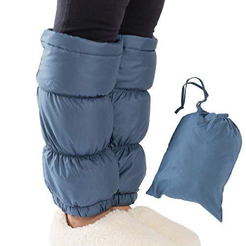 mianshe 羽毛 レッグウォーマー アームウォーマーとしてもOK 収納ポケット付き 男女兼用 フリーサイズ ブルー