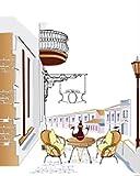 FNECCC Póster de Lienzo de Arte de Pared con ilustración Simple y Moderno, Cuadro de té de la Tarde de Mesa de Vida Europea para la decoración del hogar de la Sala de Estar sin Marco 50x70cm