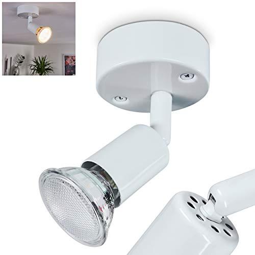 Lámpara de techo redonda de metal en color blanco, 1 foco de techo, 1 bombilla GU10 máx. 3 W, el cabezal de la lámpara se puede girar e inclinar.