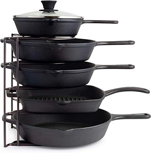 Worthy Shoppee Pan Organizer, Extra Large 5 Tier Shelf - Holds Cast Iron Skillets, Dutch Oven, Griddles - Durable - Space Saving Kitchen Storage - No Assembly Required - Black 15.4 Inch