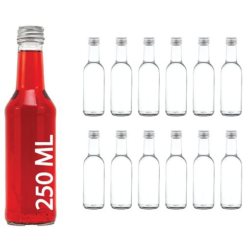 casavetro Trasparente Tappo A Vite Bottiglie di Vetro vuote 250 ml - Riutilizzabile Twist off coperchi - a Tenuta d'Aria Coperchio in Metallo per Kombucha Birra a casa Gin Olio Aceto (12 x 250 ml)