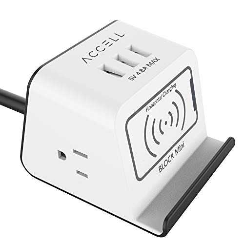 Accell Power Wireless Block Mini - Compact Surge Protector with Qi-Compatible Wireless Charging Stand - 3 USB Type A Ports, 2 AC Outlets, 5-Foot Cord - White