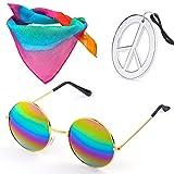 Beelittle Hippie Costume Set - Gafas Estilo círculo de los años 60 Collar de Signo de la Paz Diadema Hippie Kit de Accesorios para Fiesta de los años 60 (A)