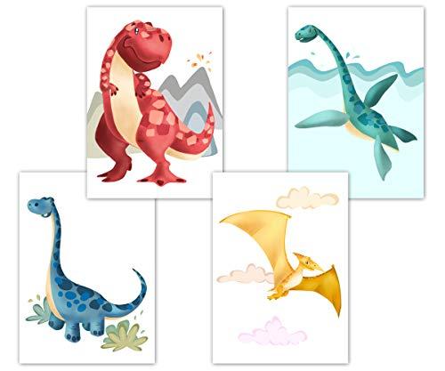 Dino Poster Kinderzimmer, Deko für Babyzimmer, Kinderposter Set, Babyposter, DIN A4 ohne Bilderrahmen, Tierbilder, Dinosaurier Wandbilder für Jungen und Mädchen (4er Set A)
