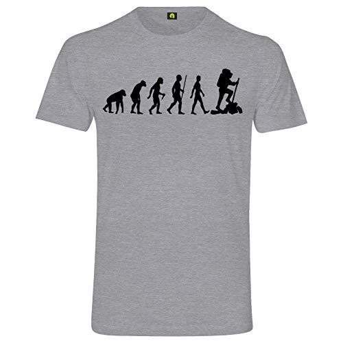 Evolution Bergsteiger T-Shirt | Bergsteigen | Klettern | Wandern | Berg Grau Meliert L