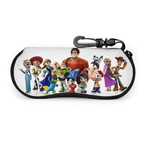 GERERIC Estuche Para Las Gafas,Toy Story Y Ralph El Demoledor Funda De Neopreno Con Cremallera,Estuche Plegable De Gafas,Funda Portátil Caja Para Gafas De Sol