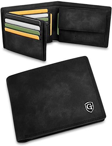 GenTo® Manhattan Geldbörse mit Münzfach - TÜV geprüfter RFID, NFC Schutz - geräumiges Portemonnaie - Geldbeutel für Herren und Damen - Portmonaise inkl. Geschenkbox (Schwarz - Soft)