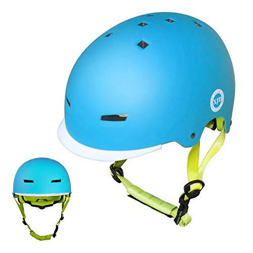 XJD ヘルメット 子供 幼児 こども用 スケボー ヘルメット ハードシェル 高剛性 自転車 サイクリング 通学 スキー スケートボード スポーツ ヘルメット (ブルー, S(50cm~54cm))