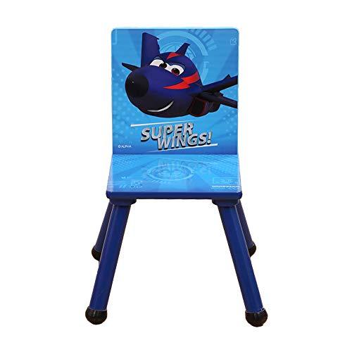 Super Wings - Silla de madera para niños (53 x 27 x 27 cm)