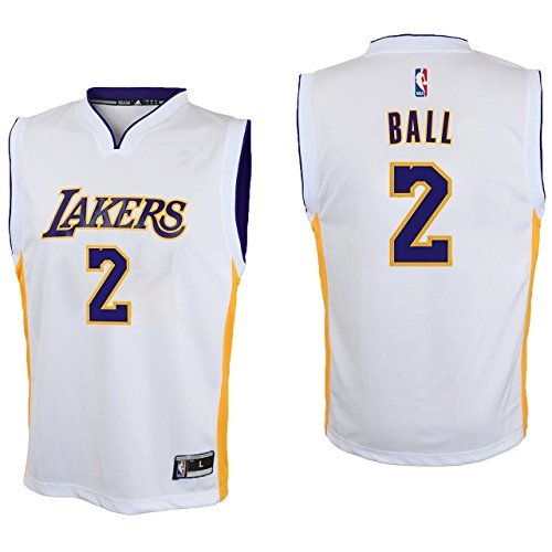 Lonzo Ball Los Angeles Lakers #2 White Youth Alternate Replica Jersey Medium 10/12