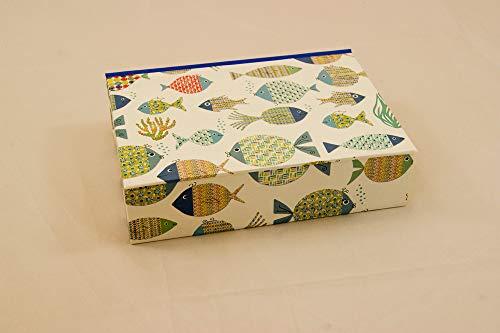 personalisierbare Geschenkverpackung Fische A6 Kästchen 17,5 x 12,5 cm Grundfläche und gewünschter Höhe mit Klappdeckel