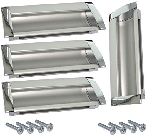 AERZETIX: 4x Tirador para cajón alacena puerta mueble armario para empotrar Chelif cromo/plata mate 96mm C41480