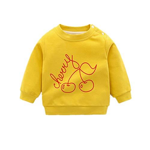 Surwin Sudadera Cuello Redondo para niños Unisex Jersey Manga Larga Algodón Suave Casual Camiseta Superior Ropa Invierno Chándal (Cereza,73cm (Hebilla de Hombro))