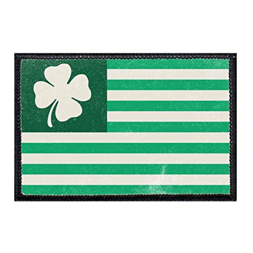 Shamrock Flag - Large Morale Patch   Hook and Loop Attach for Hats, Jeans, Vest, Coat   2x3 in   by Pull Patch