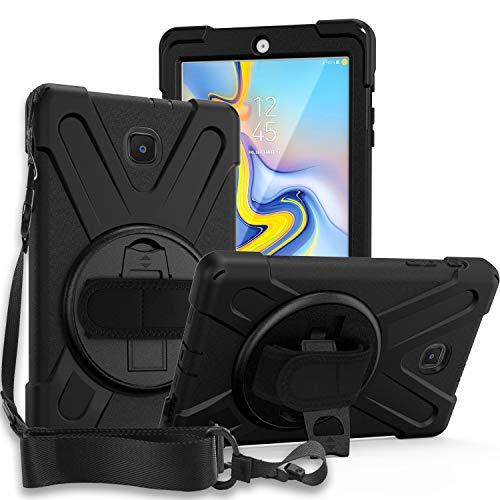 "Galaxy Tab A 8.0 T387 (2018/2019, LTE) Case, KIQ Shockproof Heavy Duty Military Shield Full-Body Rugged Armor Kickstand Shoulder Strap Sling Case for Samsung Galaxy Tab A 8.0"" SM-T387 (Black)"