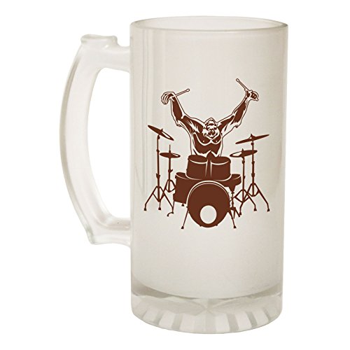 123t Beer Stein 16oz - Frosted Glass Gorilla Drummer Music Band Funny Novelty Birthday Joke dad Grandad Uncle Christmas Pitcher tankard