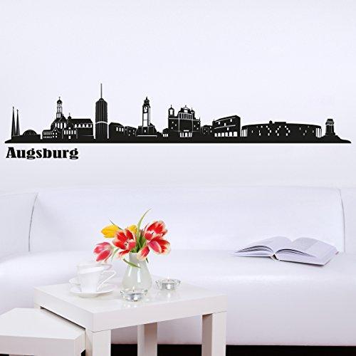 Wandkings Skyline - Deine Stadt wählbar - Augsburg - 125 x 22 cm - Wandaufkleber Wandsticker Wandtattoo