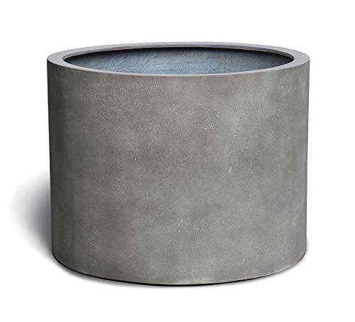 VAPLANTO® Pflanzkübel Low Cylinder 50 Beton Grau Rund * 48 x 48 x 33 cm * 10 Jahre Garantie