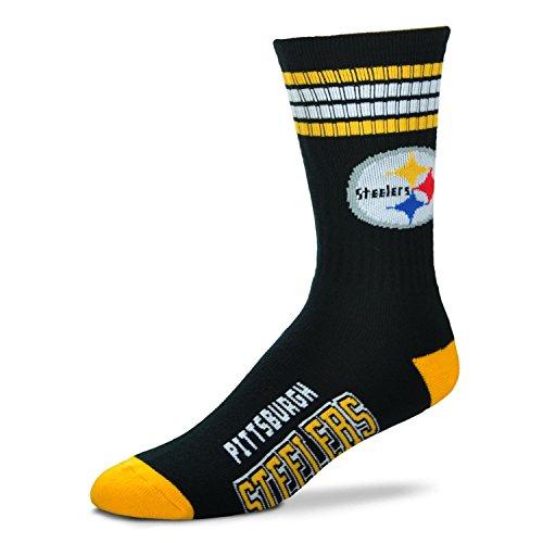 Bare Feet NFL Deuce Crew Herrensocken, 4 Streifen, Herren, 504-TCDEUCENFL, Pittsburgh Steelers, Large (10-13)
