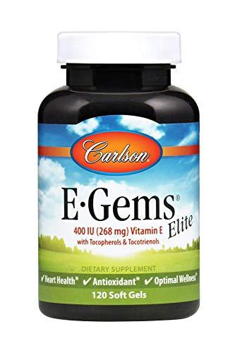 Price comparison product image Carlson - E-Gems Elite,  400 IU (268 mg) Vitamin E with Tocopherols & Tocotrienols,  Natural-Source,  Vitamin E Capsules,  Heart Health & Optimal Wellness,  Antioxidant,  Vitamin E Supplement,  120 Softgels