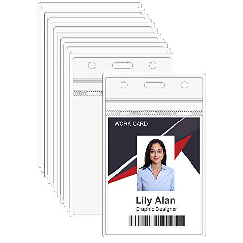 12 Packs Vertical ID Badge Holder, Clear Plastic ID Card Holder with Waterproof Resealable Zipper, 1.0mm Extra Thickness Name Tag Badge Holder